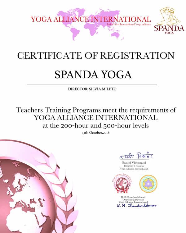 Scuola Spanda Yoga Roma Certificato YAI International Direttore Silvia Mileto